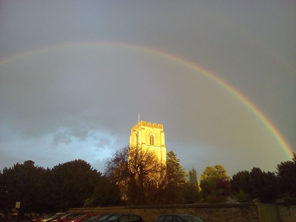 Rainbow over Trumpington Church (Photo by Sam)
